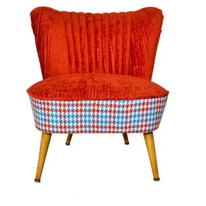 Red Houndstooth 70's – restored coctail chair
