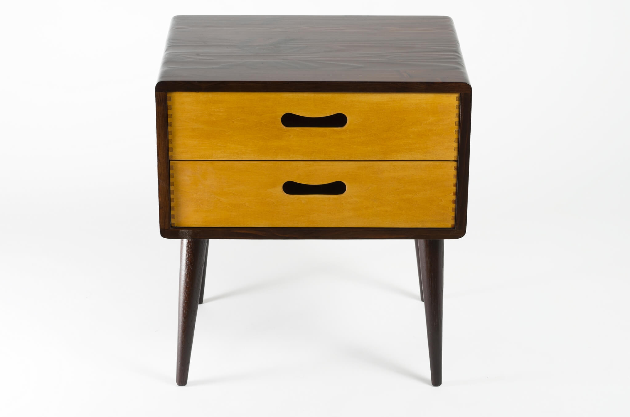 HomeSide TablesMid Century Modern Side Table Double Drawer