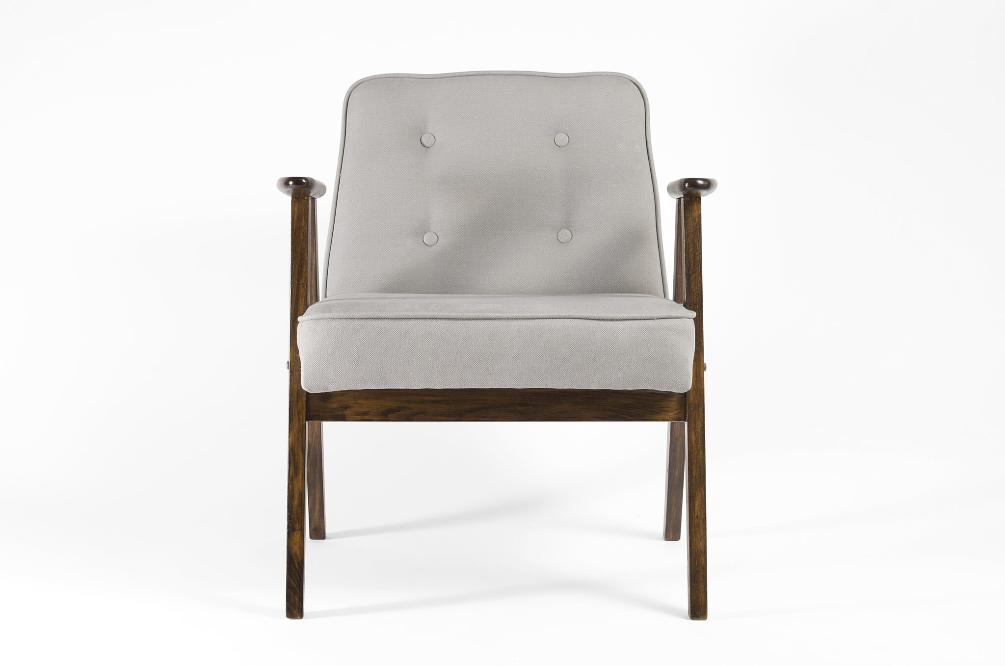 karos b restores dusty blue armchair from 1960s